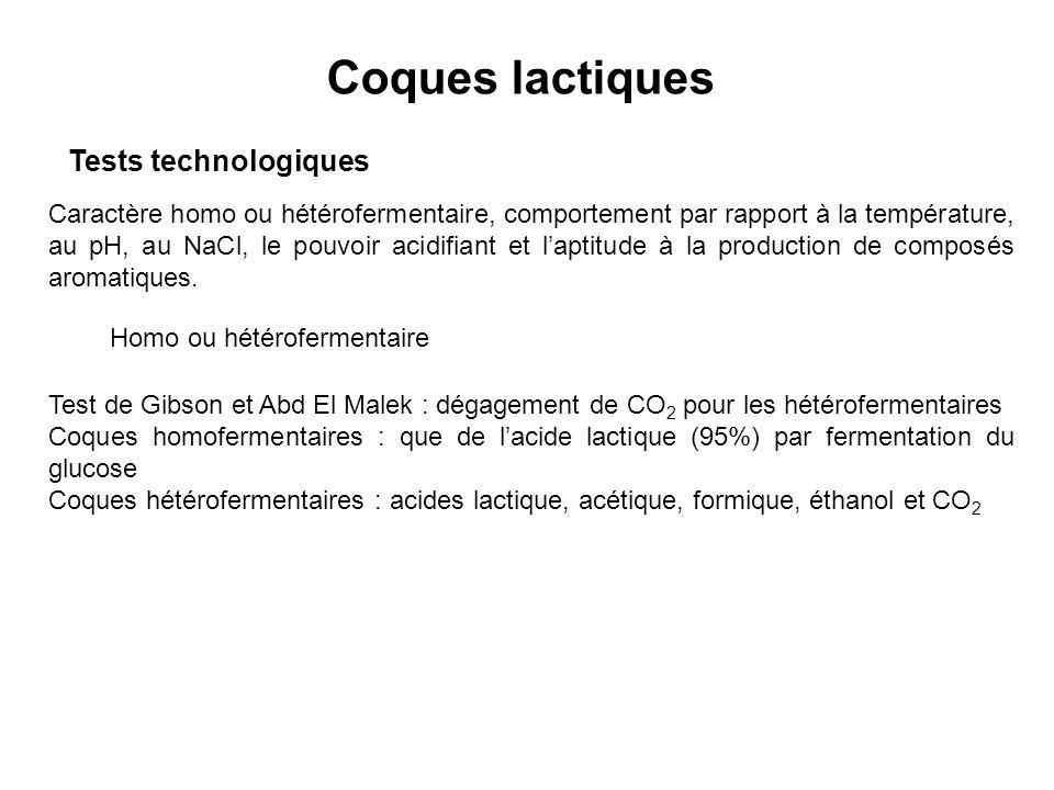 Coques lactiques Tests technologiques Caractère homo ou hétérofermentaire, comportement par rapport à la température, au pH, au NaCl, le pouvoir acidi