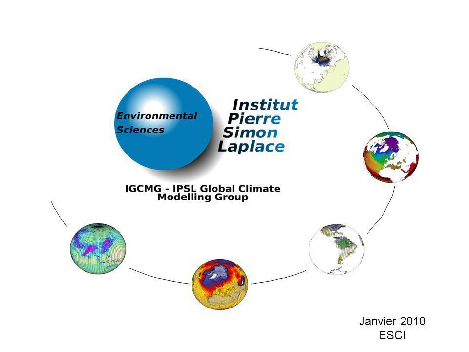 Le modèle couplé de lIPSL Contexte – Présentation – IPSL – Pôle de modélisation du climat – Historique du modèle système Terre IPSL – Le modèle actuel IPSLCM5 Parallélisme Les scripts libIGCM – Les autres configurations – A venir… Utilisation du modèle – Les outils de lIPSL : modipsl, libIGCM,… – Les différentes étapes – Les simulations réalisées – Les outils utiles : nco, cdo,…