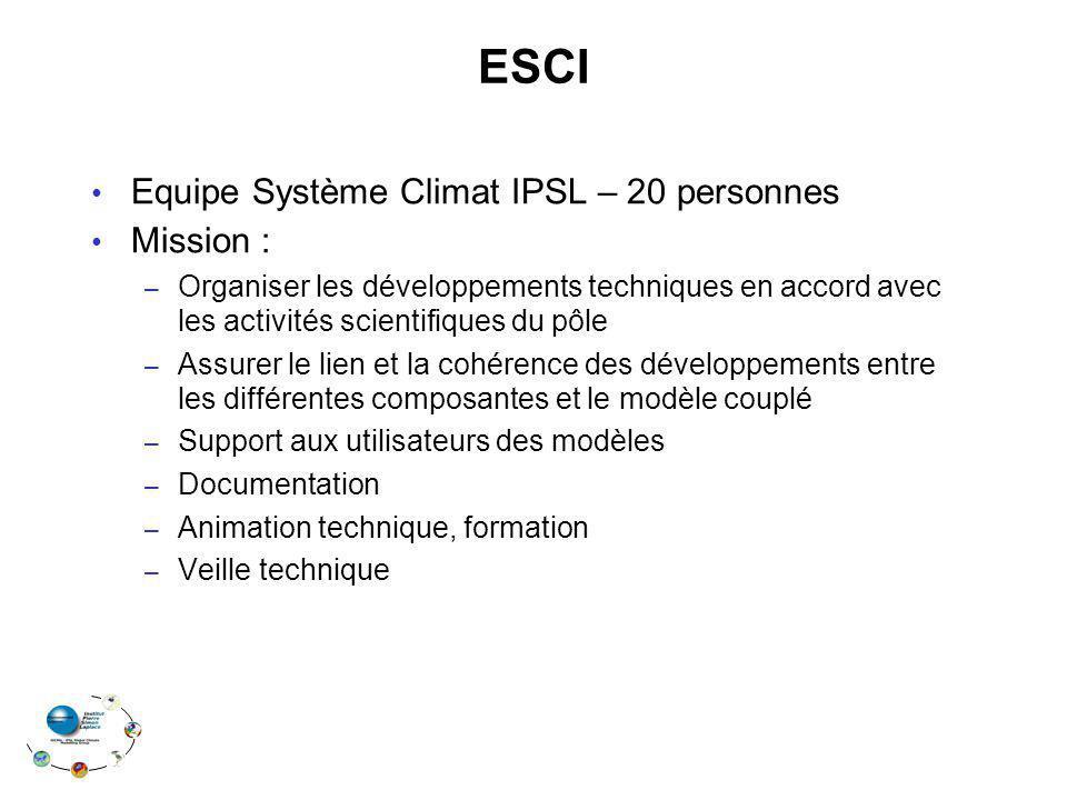 ESCI Equipe Système Climat IPSL – 20 personnes Mission : – Organiser les développements techniques en accord avec les activités scientifiques du pôle – Assurer le lien et la cohérence des développements entre les différentes composantes et le modèle couplé – Support aux utilisateurs des modèles – Documentation – Animation technique, formation – Veille technique