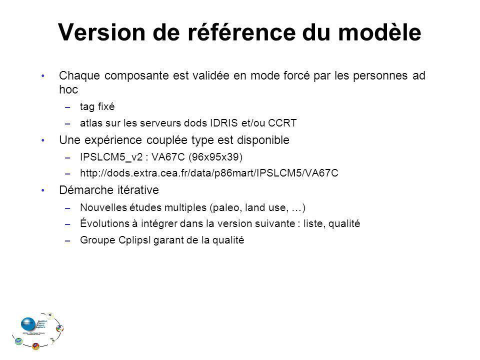 Version de référence du modèle Chaque composante est validée en mode forcé par les personnes ad hoc – tag fixé – atlas sur les serveurs dods IDRIS et/ou CCRT Une expérience couplée type est disponible – IPSLCM5_v2 : VA67C (96x95x39) – http://dods.extra.cea.fr/data/p86mart/IPSLCM5/VA67C Démarche itérative – Nouvelles études multiples (paleo, land use, …) – Évolutions à intégrer dans la version suivante : liste, qualité – Groupe Cplipsl garant de la qualité