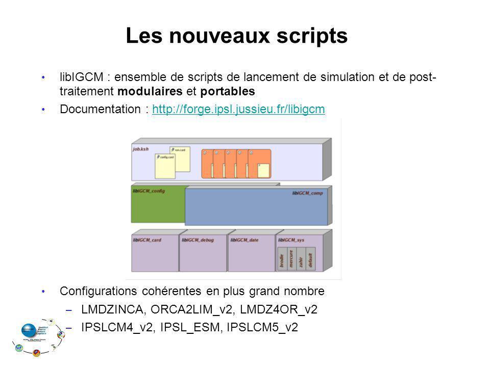 Les nouveaux scripts libIGCM : ensemble de scripts de lancement de simulation et de post- traitement modulaires et portables Documentation : http://forge.ipsl.jussieu.fr/libigcmhttp://forge.ipsl.jussieu.fr/libigcm Configurations cohérentes en plus grand nombre – LMDZINCA, ORCA2LIM_v2, LMDZ4OR_v2 – IPSLCM4_v2, IPSL_ESM, IPSLCM5_v2