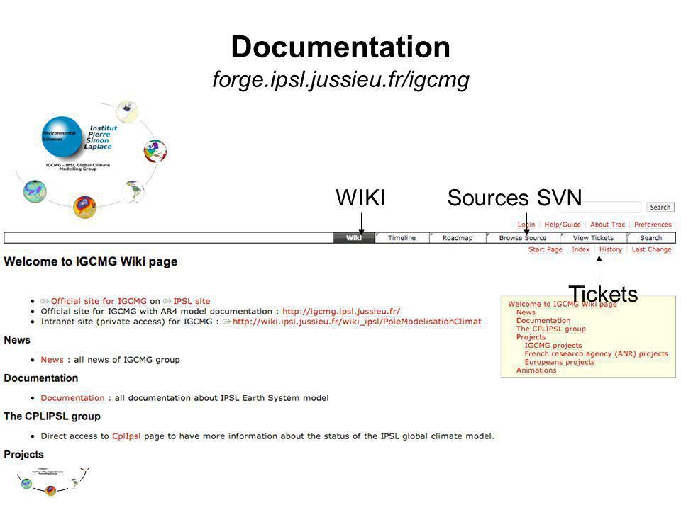 Documentation forge.ipsl.jussieu.fr/igcmg Sources SVN Tickets WIKI