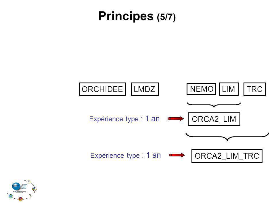 LMDZLIMTRC Principes (5/7) ORCA2_LIM Expérience type : 1 an ORCA2_LIM_TRC Expérience type : 1 an NEMO