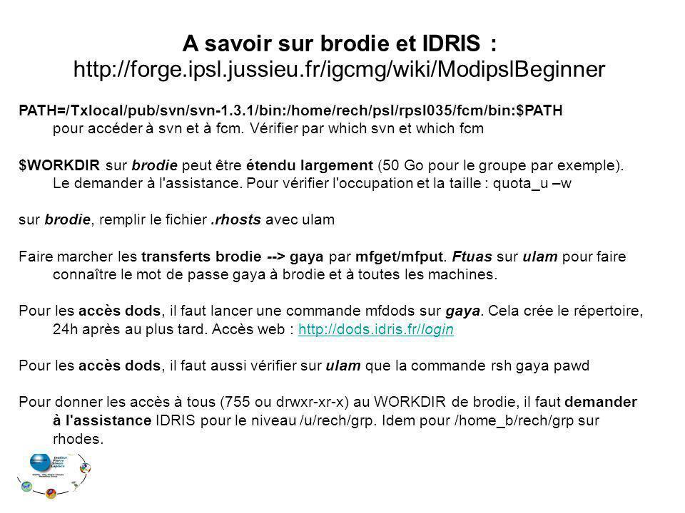 A savoir sur brodie et IDRIS : http://forge.ipsl.jussieu.fr/igcmg/wiki/ModipslBeginner PATH=/Txlocal/pub/svn/svn-1.3.1/bin:/home/rech/psl/rpsl035/fcm/