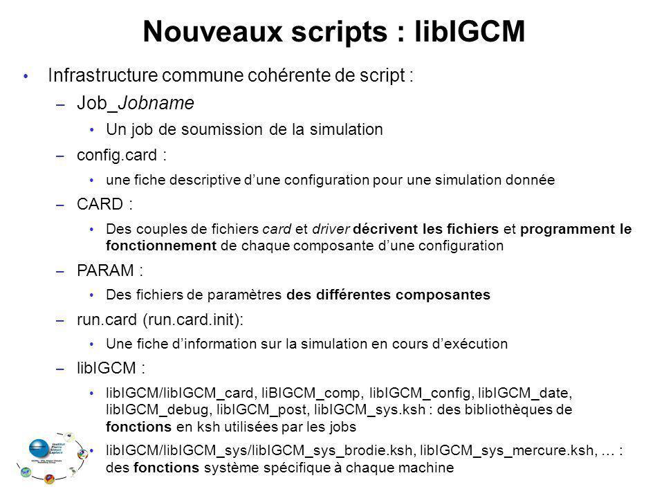 Nouveaux scripts : libIGCM Infrastructure commune cohérente de script : – Job_Jobname Un job de soumission de la simulation – config.card : une fiche descriptive dune configuration pour une simulation donnée – CARD : Des couples de fichiers card et driver décrivent les fichiers et programment le fonctionnement de chaque composante dune configuration – PARAM : Des fichiers de paramètres des différentes composantes – run.card (run.card.init): Une fiche dinformation sur la simulation en cours dexécution – libIGCM : libIGCM/libIGCM_card, liBIGCM_comp, libIGCM_config, libIGCM_date, libIGCM_debug, libIGCM_post, libIGCM_sys.ksh : des bibliothèques de fonctions en ksh utilisées par les jobs libIGCM/libIGCM_sys/libIGCM_sys_brodie.ksh, libIGCM_sys_mercure.ksh, … : des fonctions système spécifique à chaque machine