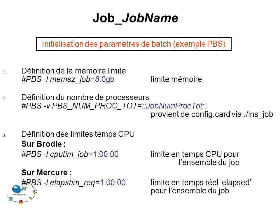 Job_JobName 1.Définition de la mémoire limite #PBS -l memsz_job=8.0gb limite mémoire 2.