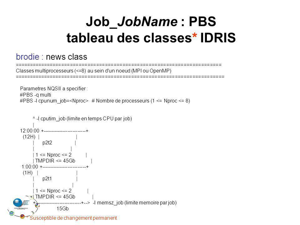 Job_JobName : PBS tableau des classes* IDRIS brodie : news class ======================================================================= Classes multiprocesseurs (<=8) au sein d un noeud (MPI ou OpenMP) ======================================================================== Parametres NQSII a specifier : #PBS -q multi #PBS -l cpunum_job= # Nombre de processeurs (1 <= Nproc <= 8) ^ -l cputim_job (limite en temps CPU par job) | 12:00:00 +--------------------------+ (12H) | | | p2t2 | | | | 1 <= Nproc <= 2 | | TMPDIR <= 45Gb | 1:00:00 +---------------------------+ (1H) | | | p2t1 | | | | 1 <= Nproc <= 2 | | TMPDIR <= 45Gb | +----------------------------+--> -l memsz_job (limite memoire par job) 15Gb * Susceptible de changement permanent
