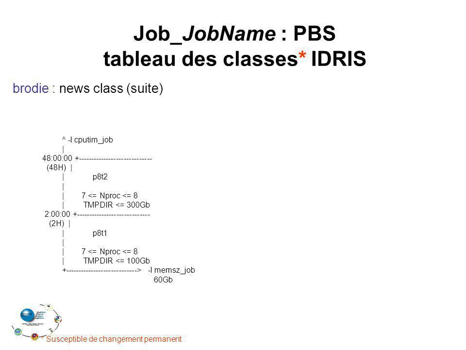 Job_JobName : PBS tableau des classes* IDRIS brodie : news class (suite) * Susceptible de changement permanent ^ -l cputim_job | 48:00:00 +----------------------------- (48H) | | p8t2 | | 7 <= Nproc <= 8 | TMPDIR <= 300Gb 2:00:00 +----------------------------- (2H) | | p8t1 | | 7 <= Nproc <= 8 | TMPDIR <= 100Gb +----------------------------> -l memsz_job 60Gb