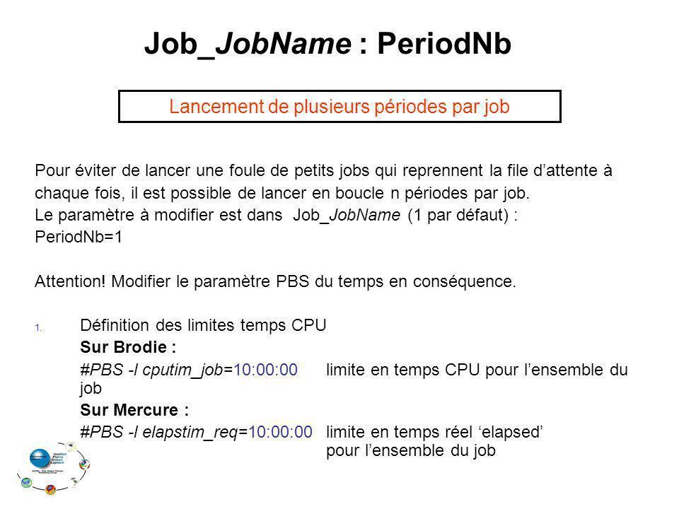 Job_JobName : PeriodNb Pour éviter de lancer une foule de petits jobs qui reprennent la file dattente à chaque fois, il est possible de lancer en boucle n périodes par job.