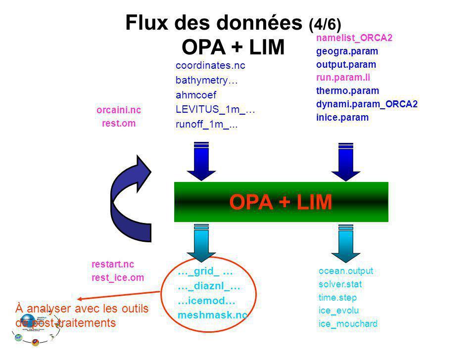 OPA + LIM Flux des données (4/6) OPA + LIM namelist_ORCA2 geogra.param output.param run.param.li thermo.param dynami.param_ORCA2 inice.param coordinates.nc bathymetry… ahmcoef LEVITUS_1m_… runoff_1m_...