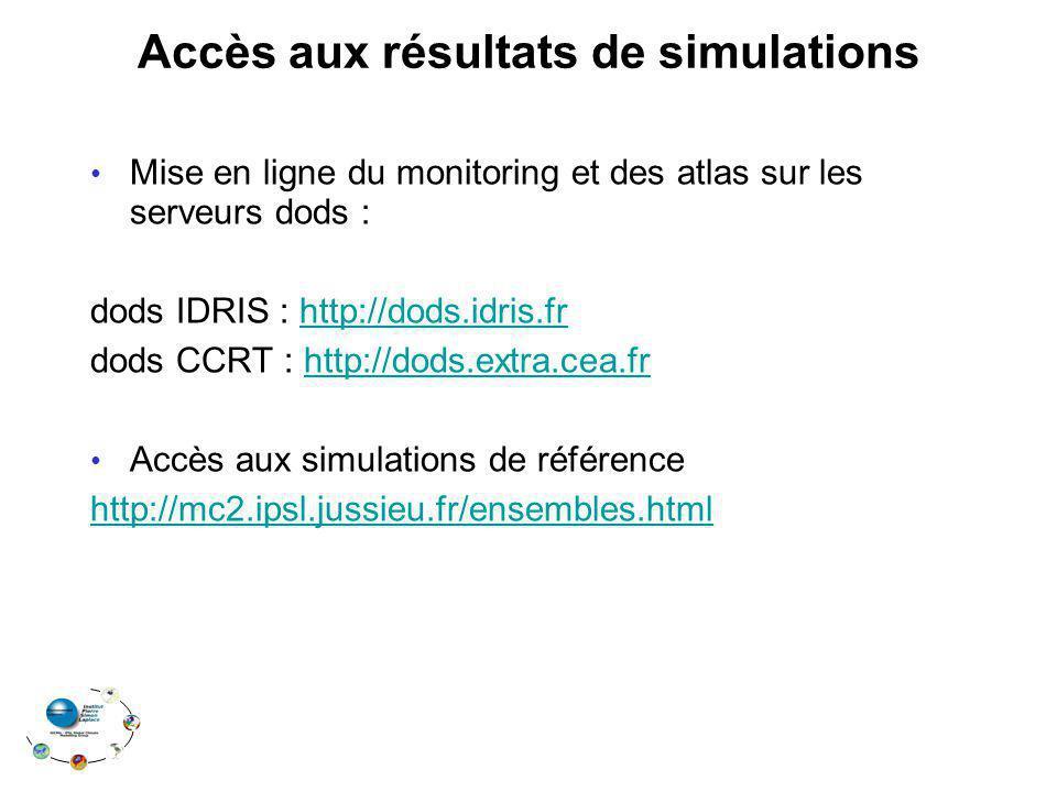 Accès aux résultats de simulations Mise en ligne du monitoring et des atlas sur les serveurs dods : dods IDRIS : http://dods.idris.frhttp://dods.idris.fr dods CCRT : http://dods.extra.cea.frhttp://dods.extra.cea.fr Accès aux simulations de référence http://mc2.ipsl.jussieu.fr/ensembles.html