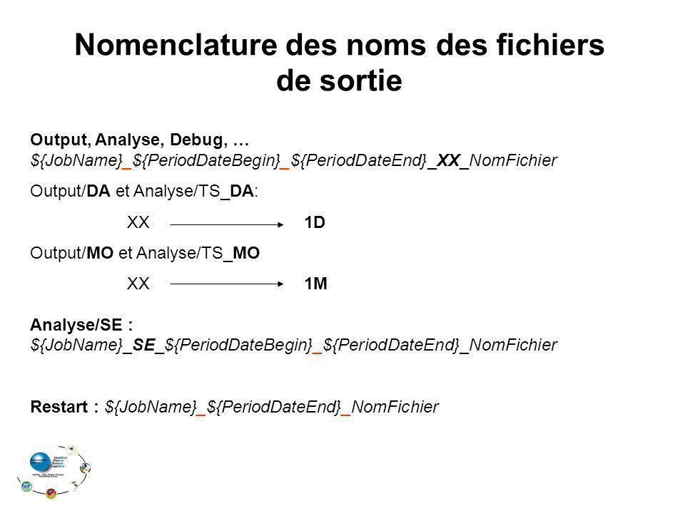 Nomenclature des noms des fichiers de sortie Output, Analyse, Debug, … ${JobName}_${PeriodDateBegin}_${PeriodDateEnd}_XX_NomFichier Output/DA et Analy
