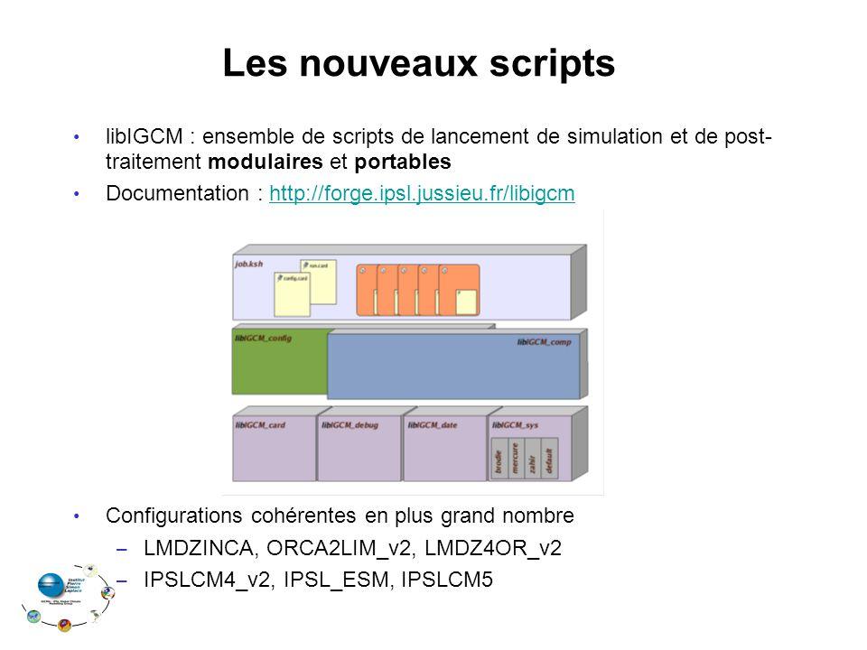 Les nouveaux scripts libIGCM : ensemble de scripts de lancement de simulation et de post- traitement modulaires et portables Documentation : http://fo