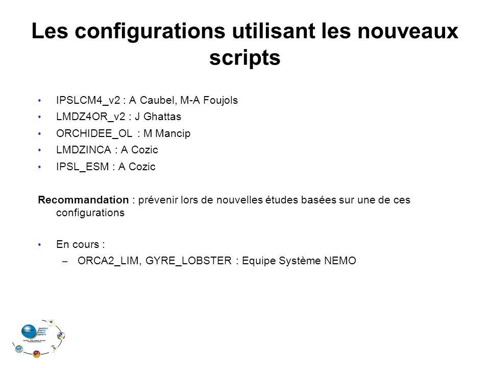 Les configurations utilisant les nouveaux scripts IPSLCM4_v2 : A Caubel, M-A Foujols LMDZ4OR_v2 : J Ghattas ORCHIDEE_OL : M Mancip LMDZINCA : A Cozic