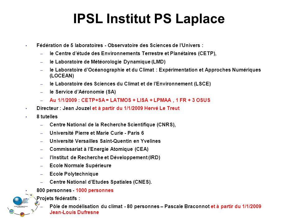 IPSL Institut PS Laplace Fédération de 5 laboratoires - Observatoire des Sciences de lUnivers : – le Centre détude des Environnements Terrestre et Pla