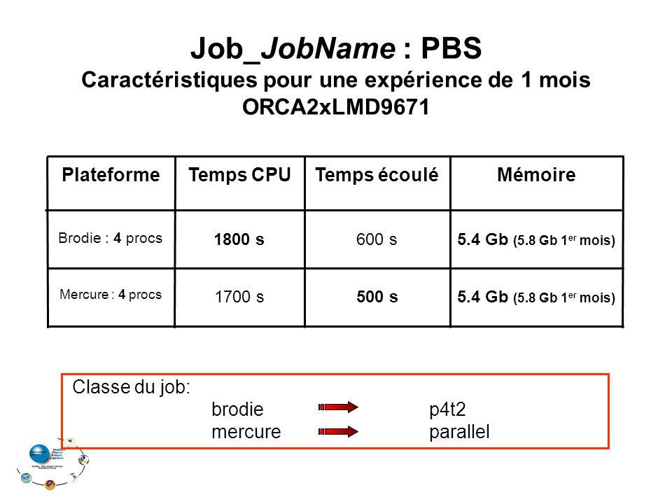 Temps CPU 5.4 Gb (5.8 Gb 1 er mois) 1700 s Mercure : 4 procs 5.4 Gb (5.8 Gb 1 er mois) 600 s Brodie : 4 procs MémoireTemps écouléPlateforme 1800 s 500