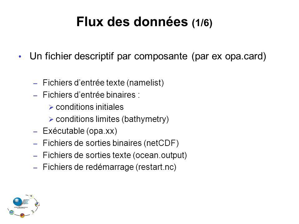 Un fichier descriptif par composante (par ex opa.card) – Fichiers dentrée texte (namelist) – Fichiers dentrée binaires : conditions initiales conditio