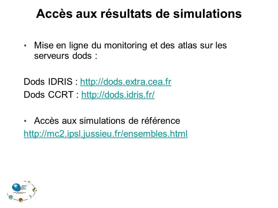 Accès aux résultats de simulations Mise en ligne du monitoring et des atlas sur les serveurs dods : Dods IDRIS : http://dods.extra.cea.frhttp://dods.e