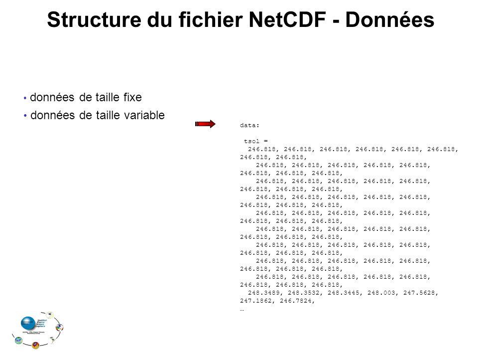 données de taille fixe données de taille variable Structure du fichier NetCDF - Données data: tsol = 246.818, 246.818, 246.818, 246.818, 246.818, 246.