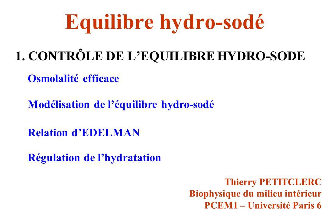Equilibre hydro-sodé 1. CONTRÔLE DE LEQUILIBRE HYDRO-SODE Thierry PETITCLERC Biophysique du milieu intérieur PCEM1 – Université Paris 6 Osmolalité eff
