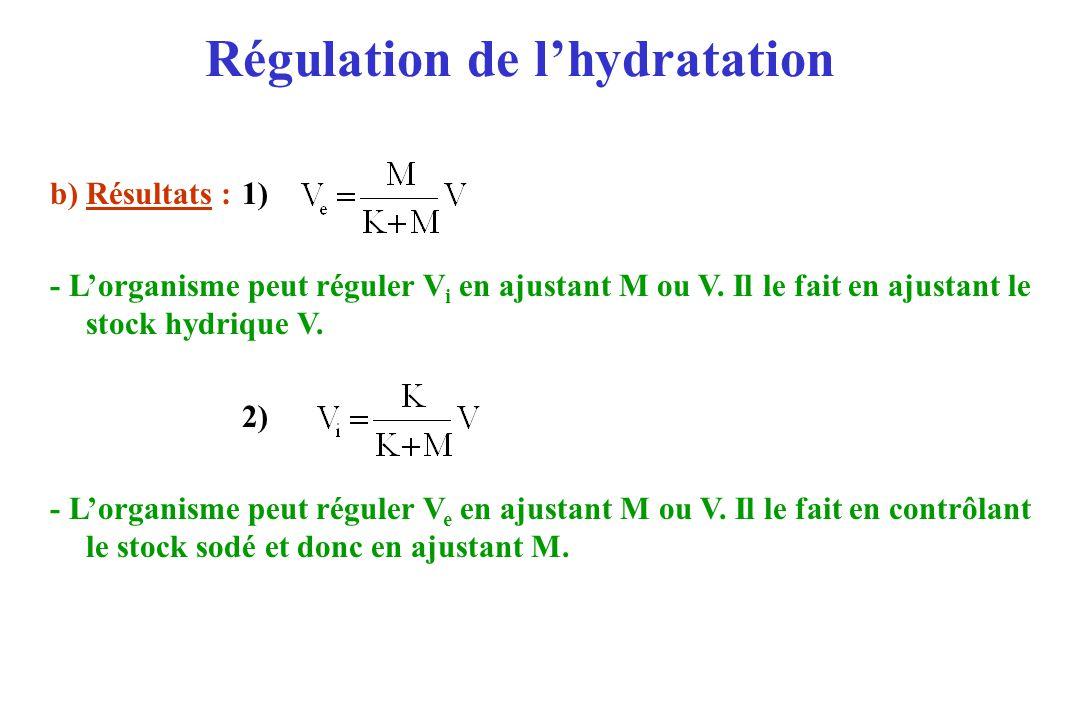 Régulation de lhydratation b) Résultats :1) - Lorganisme peut réguler V i en ajustant M ou V. Il le fait en ajustant le stock hydrique V. 2) - Lorgani