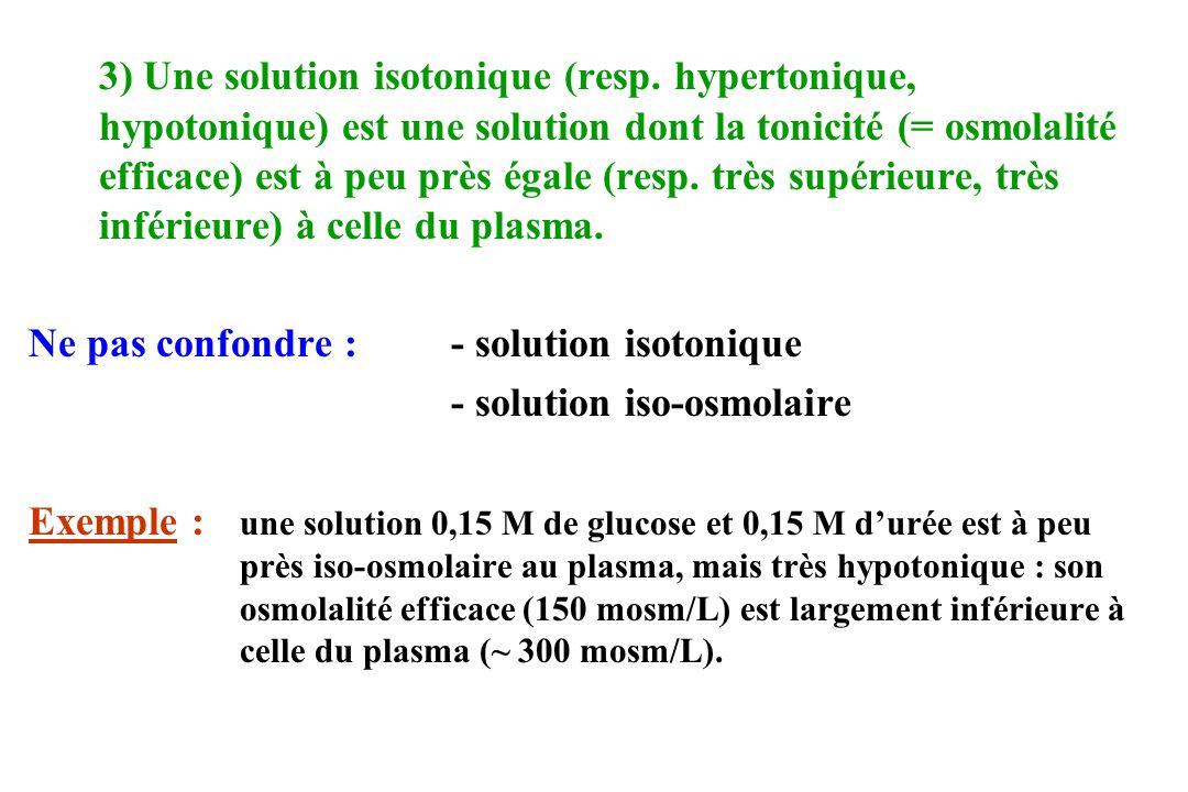 3) Une solution isotonique (resp. hypertonique, hypotonique) est une solution dont la tonicité (= osmolalité efficace) est à peu près égale (resp. trè