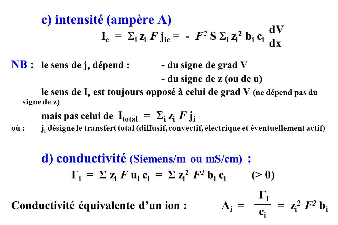 c) intensité (ampère A) I e = i z i F j ie = - F 2 S i z i 2 b i c i NB : le sens de j e dépend :- du signe de grad V - du signe de z (ou de u) le sen