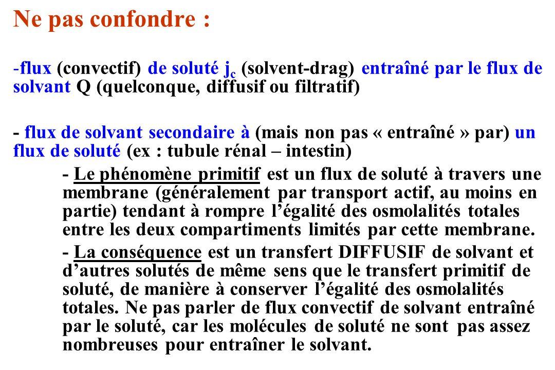 Ne pas confondre : -flux (convectif) de soluté j c (solvent-drag) entraîné par le flux de solvant Q (quelconque, diffusif ou filtratif) - flux de solv