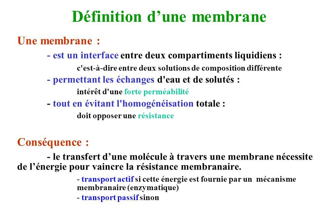 Définition dune membrane Une membrane : - est un interface entre deux compartiments liquidiens : c'est-à-dire entre deux solutions de composition diff