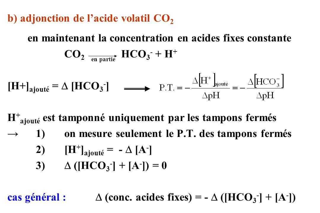 b) adjonction de lacide volatil CO 2 en maintenant la concentration en acides fixes constante CO 2 HCO 3 - + H + [H+] ajouté = [HCO 3 - ] H + ajouté e