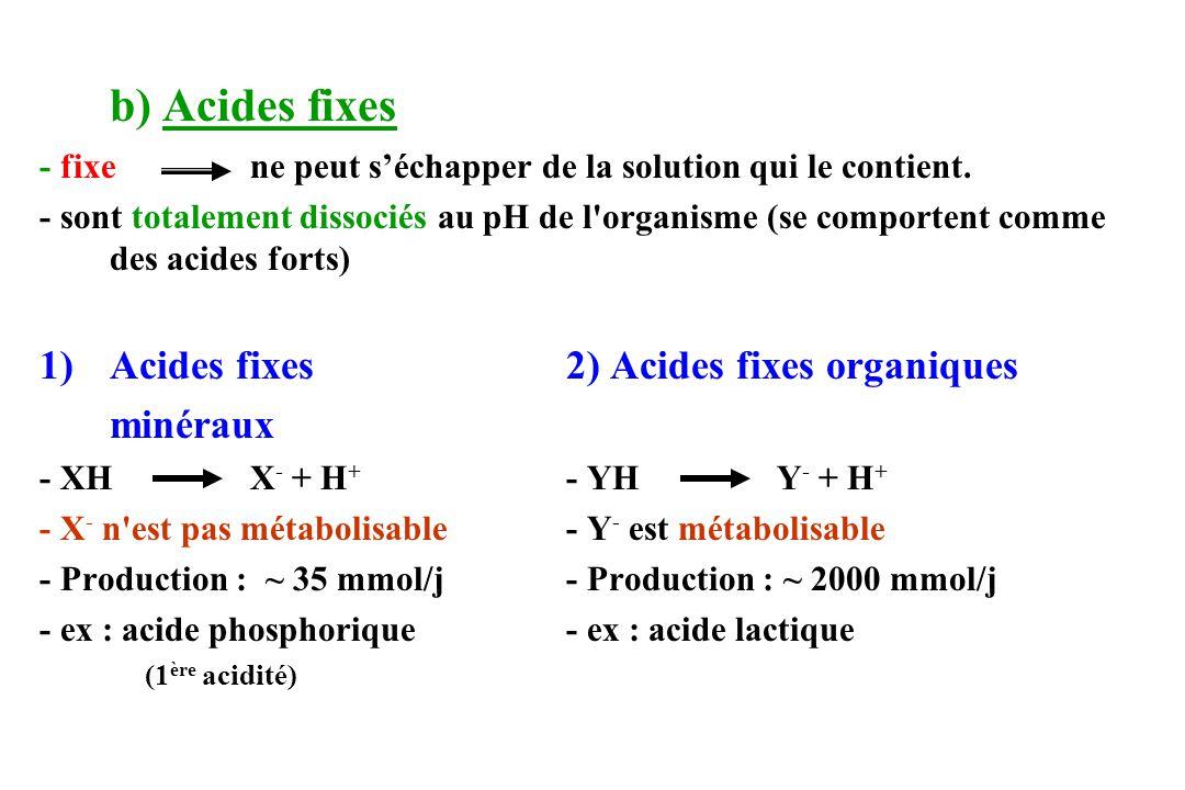 b) Acides fixes - fixe ne peut séchapper de la solution qui le contient. - sont totalement dissociés au pH de l'organisme (se comportent comme des aci