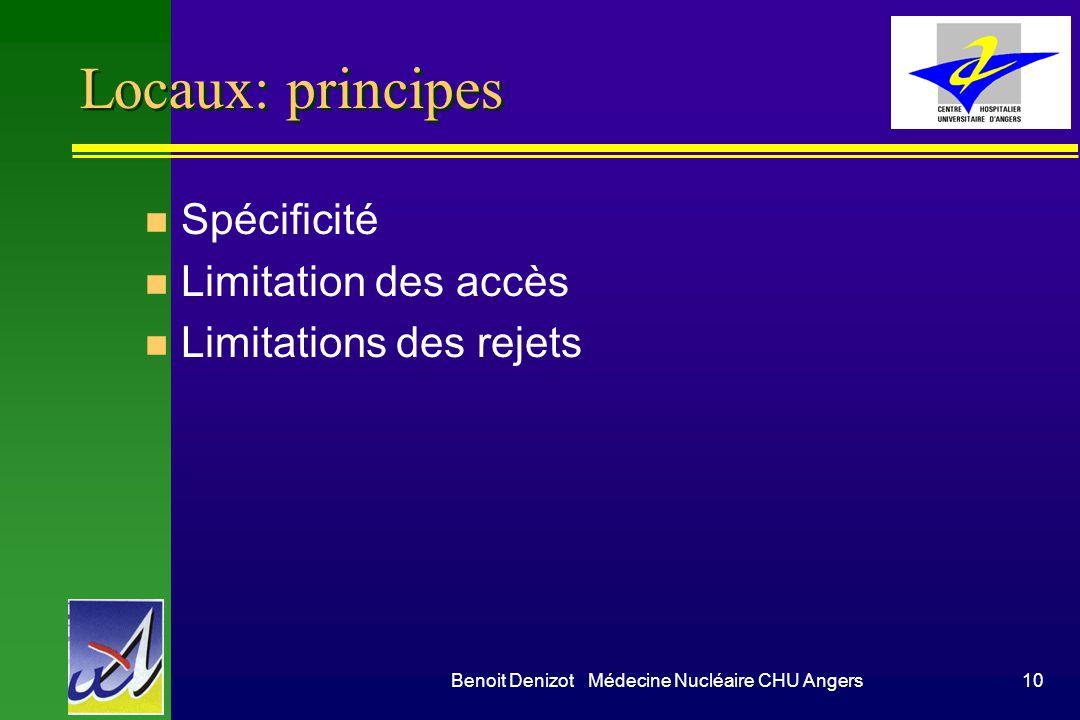 Benoit Denizot Médecine Nucléaire CHU Angers10 Locaux: principes n Spécificité n Limitation des accès n Limitations des rejets