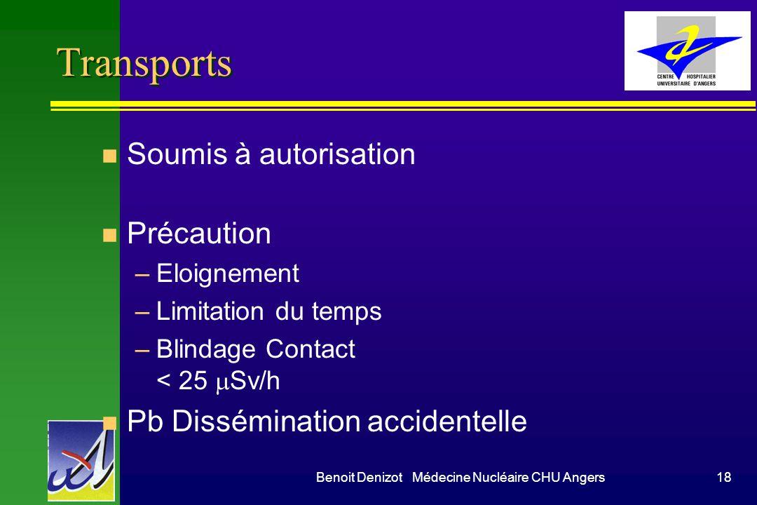 Benoit Denizot Médecine Nucléaire CHU Angers18 Transports n Soumis à autorisation n Précaution –Eloignement –Limitation du temps –Blindage Contact < 25 Sv/h n Pb Dissémination accidentelle