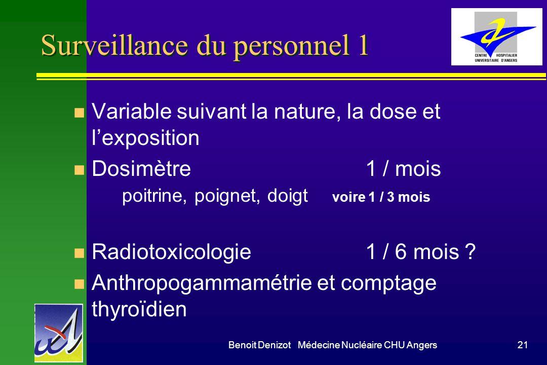 Benoit Denizot Médecine Nucléaire CHU Angers21 Surveillance du personnel 1 n Variable suivant la nature, la dose et lexposition n Dosimètre1 / mois poitrine, poignet, doigt voire 1 / 3 mois n Radiotoxicologie1 / 6 mois .