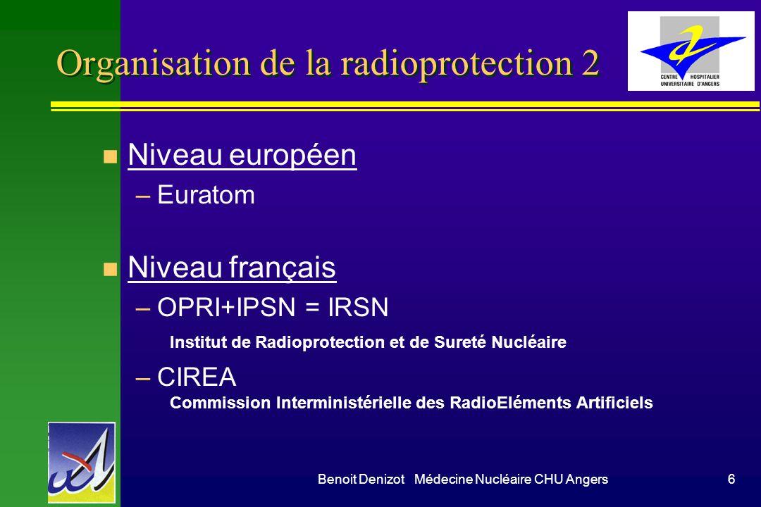 Benoit Denizot Médecine Nucléaire CHU Angers6 Organisation de la radioprotection 2 n Niveau européen –Euratom n Niveau français –OPRI+IPSN = IRSN Institut de Radioprotection et de Sureté Nucléaire –CIREA Commission Interministérielle des RadioEléments Artificiels