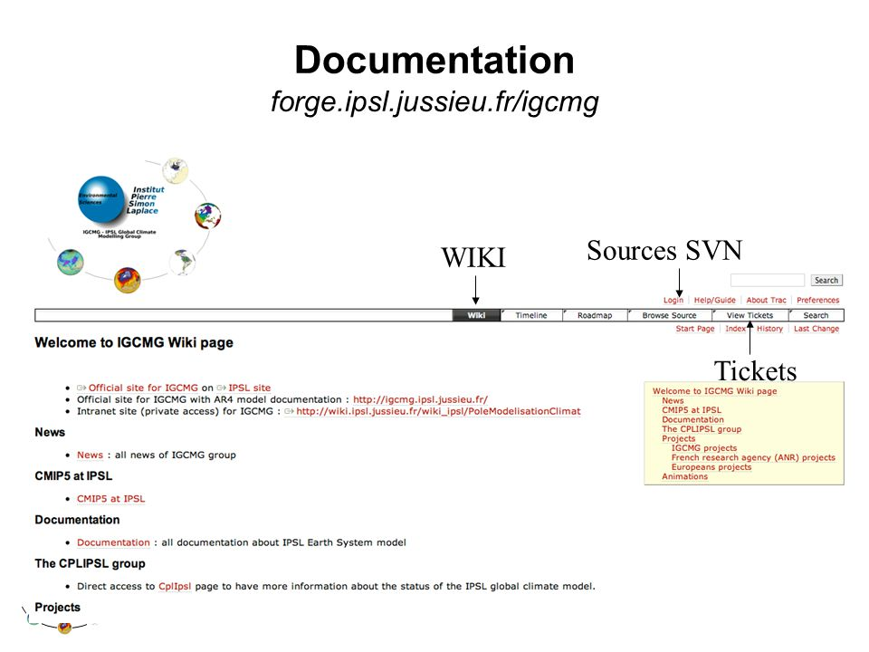Documentation forge.ipsl.jussieu.fr/igcmg Sources SVN Tickets WIKI