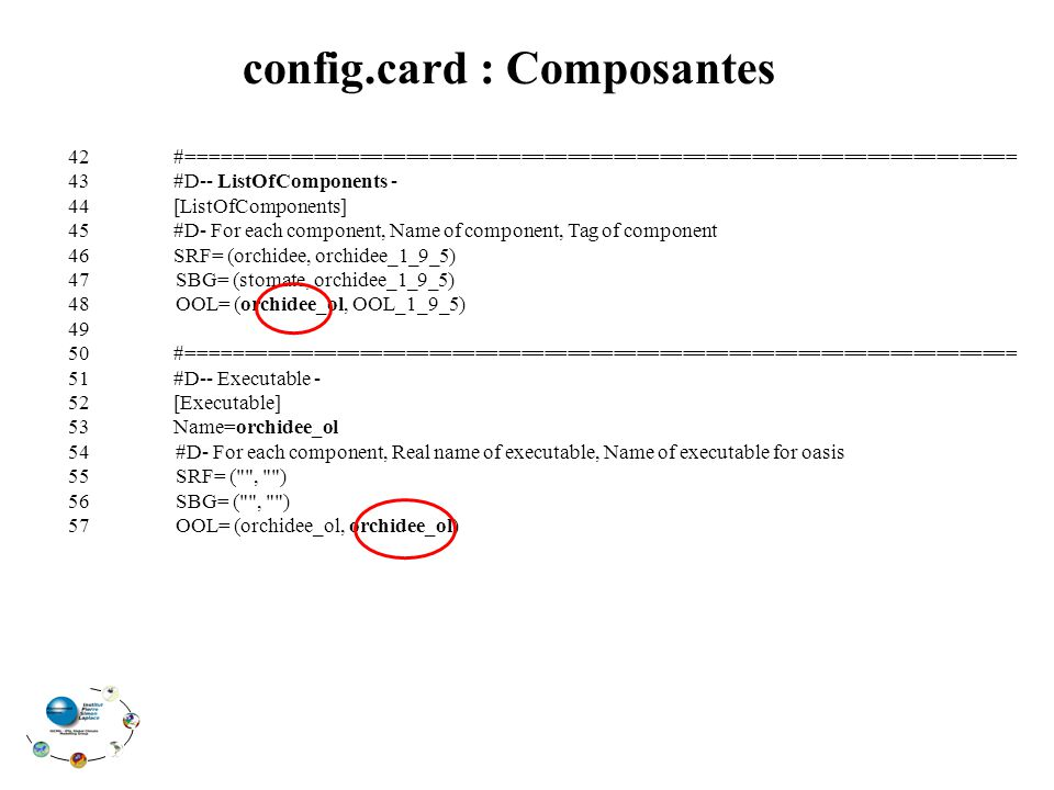 config.card : Composantes 42#======================================================================== 43#D-- ListOfComponents - 44[ListOfComponents] 45#D- For each component, Name of component, Tag of component 46SRF= (orchidee, orchidee_1_9_5) 47 SBG= (stomate, orchidee_1_9_5) 48 OOL= (orchidee_ol, OOL_1_9_5) 49 50#======================================================================== 51#D-- Executable - 52[Executable] 53Name=orchidee_ol 54 #D- For each component, Real name of executable, Name of executable for oasis 55 SRF= ( , ) 56 SBG= ( , ) 57 OOL= (orchidee_ol, orchidee_ol)