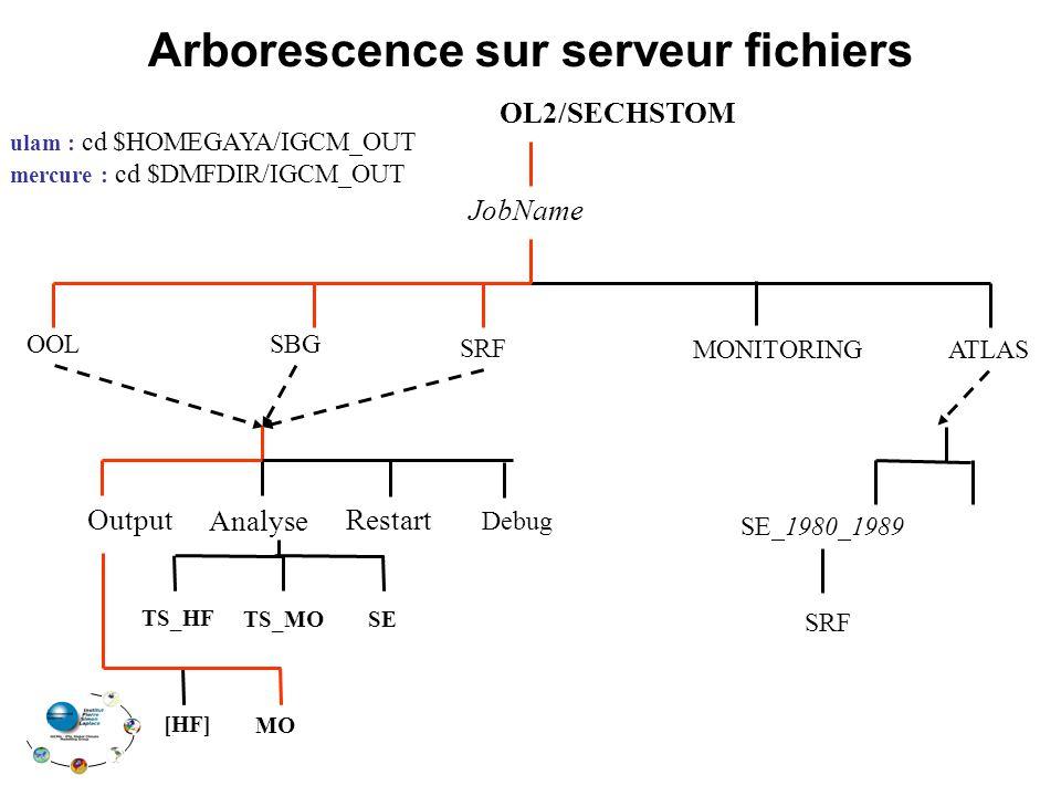 Arborescence sur serveur fichiers TS_HF TS_MO OL2/SECHSTOM SRF MONITORING JobName ATLAS OOL Restart Analyse Output [HF] MO Debug SE_1980_1989 ulam : cd $HOMEGAYA/IGCM_OUT mercure : cd $DMFDIR/IGCM_OUT SRF SE SBG