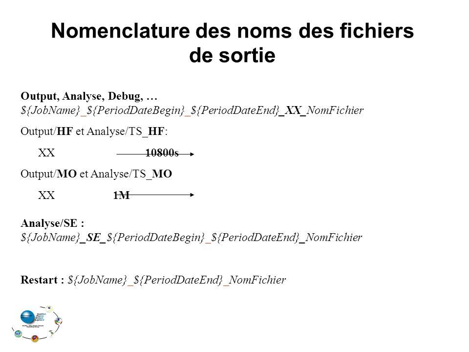 Nomenclature des noms des fichiers de sortie Output, Analyse, Debug, … ${JobName}_${PeriodDateBegin}_${PeriodDateEnd}_XX_NomFichier Output/HF et Analyse/TS_HF: XX 10800s Output/MO et Analyse/TS_MO XX 1M Analyse/SE : ${JobName}_SE_${PeriodDateBegin}_${PeriodDateEnd}_NomFichier Restart : ${JobName}_${PeriodDateEnd}_NomFichier