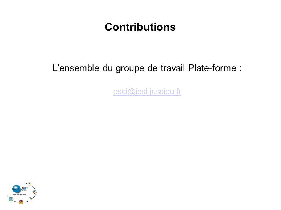 Contributions Lensemble du groupe de travail Plate-forme : esci@ipsl.jussieu.fr