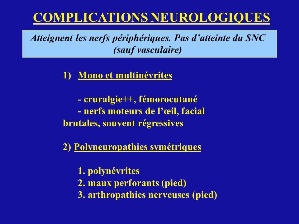 COMPLICATIONS NEUROLOGIQUES Atteignent les nerfs périphériques. Pas datteinte du SNC (sauf vasculaire) 1)Mono et multinévrites - cruralgie++, fémorocu