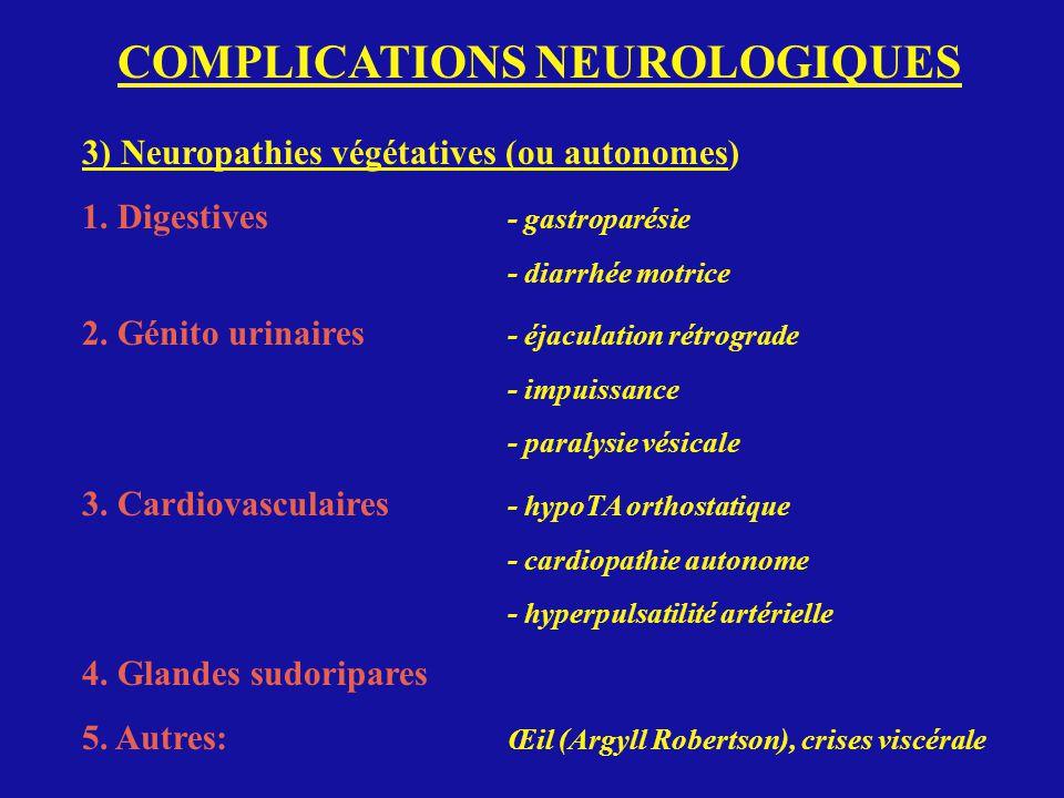 COMPLICATIONS NEUROLOGIQUES 3) Neuropathies végétatives (ou autonomes) 1. Digestives - gastroparésie - diarrhée motrice 2. Génito urinaires - éjaculat
