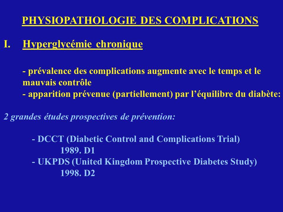 PHYSIOPATHOLOGIE DES COMPLICATIONS I.Hyperglycémie chronique - prévalence des complications augmente avec le temps et le mauvais contrôle - apparition