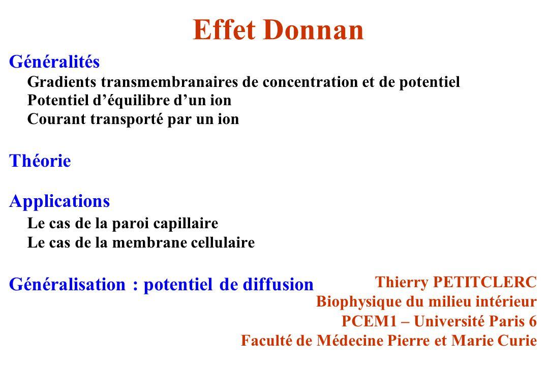 Effet Donnan Généralités Gradients transmembranaires de concentration et de potentiel Potentiel déquilibre dun ion Courant transporté par un ion Théor