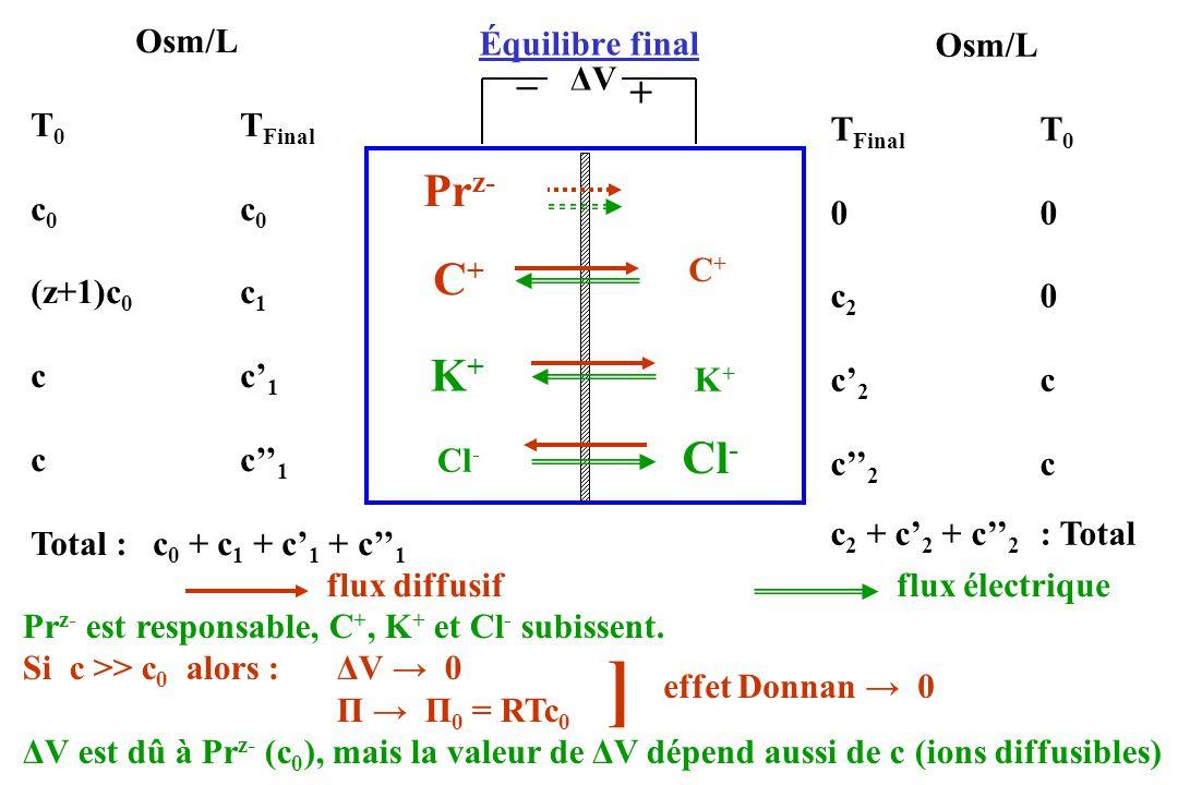 Équilibre final ΔVΔV Pr z- Osm/L T 0 T Final c 0 (z+1)c 0 c 1 cc 1 Total : c 0 + c 1 + c 1 + c 1 Osm/L T Final T 00 c 2 0 c 2 c c 2 + c 2 + c 2 : Tota