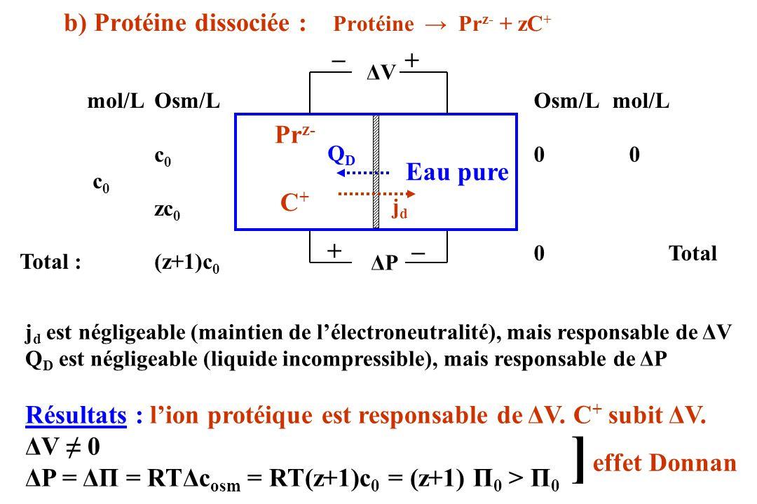 b) Protéine dissociée : Protéine Pr z- + zC + ΔVΔV Pr z- Eau pure mol/LOsm/L c 0 zc 0 Total :(z+1)c 0 Osm/L mol/L 0 0Total C+C+ + _ ΔPΔP + _ effet Don