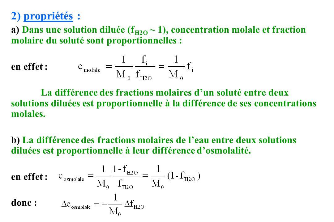 2) propriétés : a) Dans une solution diluée (f H2O ~ 1), concentration molale et fraction molaire du soluté sont proportionnelles : en effet : La diff