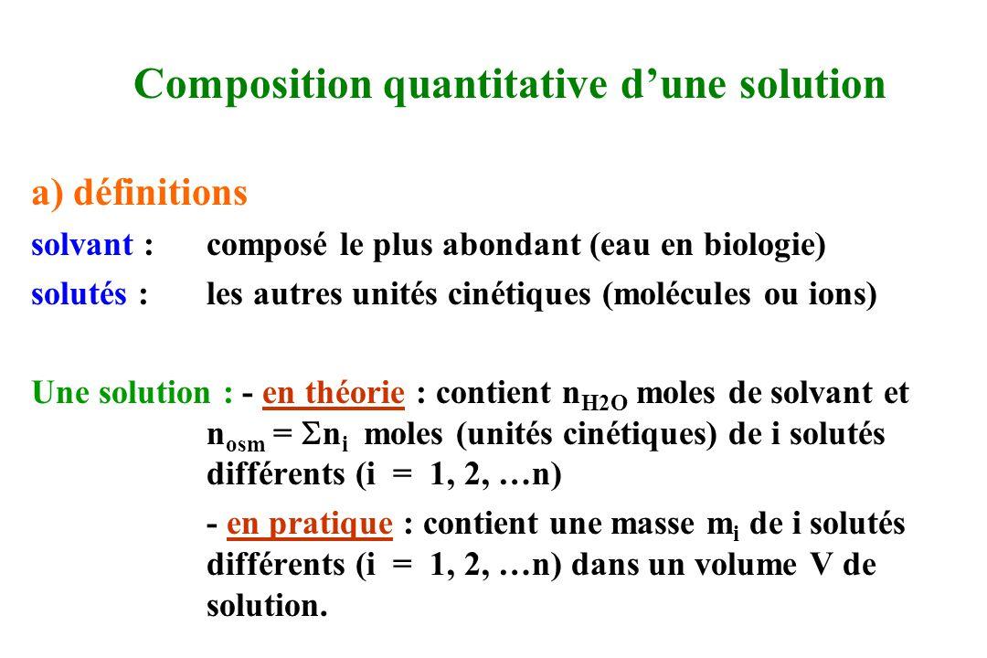 Composition quantitative dune solution a) définitions solvant :composé le plus abondant (eau en biologie) solutés :les autres unités cinétiques (moléc