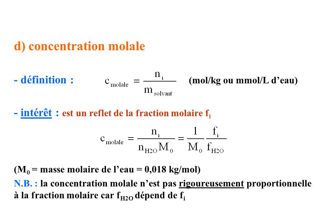 d) concentration molale - définition : (mol/kg ou mmol/L deau) - intérêt : est un reflet de la fraction molaire f i (M 0 = masse molaire de leau = 0,0