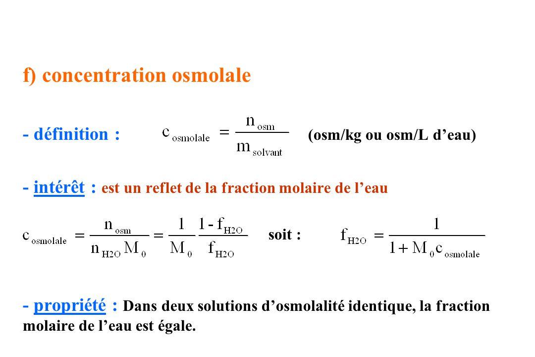 f) concentration osmolale - définition : (osm/kg ou osm/L deau) - intérêt : est un reflet de la fraction molaire de leau soit : - propriété : Dans deu